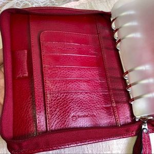Franklin Covey Accessories - Franklin Covey Genuine Red Leather 6 Ring Agenda